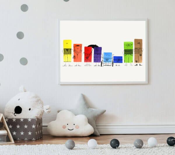 Diverse Stalen Kleurlegioen op de kinderkamer
